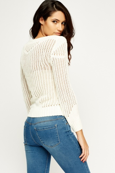 Ivory Loose Knit Cropped Jumper