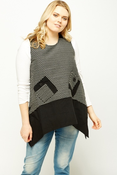 Mono Print Sleeveless Asymmetric Top