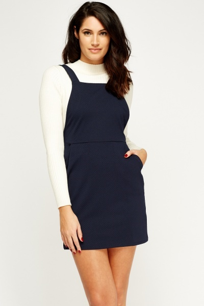 Navy Textured Pinafore Dress