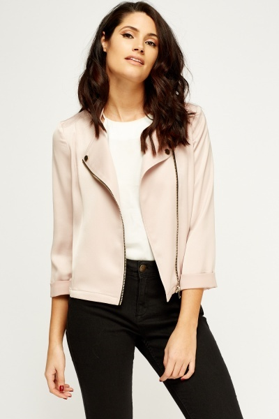 Nude Cropped Zipped Jacket
