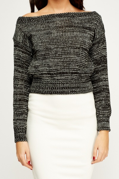 Off Shoulder Speckled Jumper