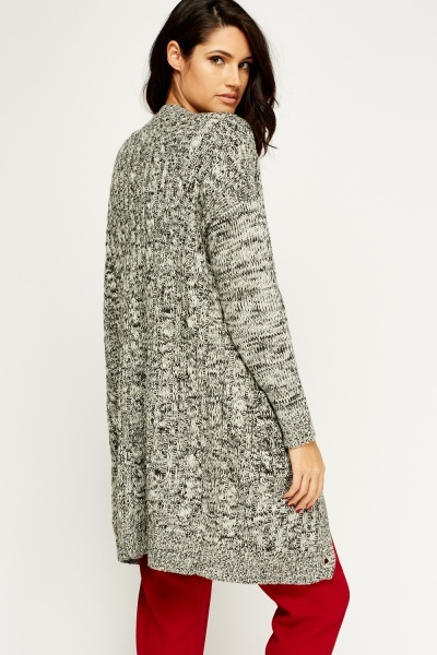 Speckled Knit Long Cardigan
