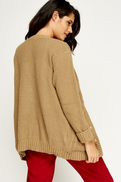 Taupe Knitted Cardigan