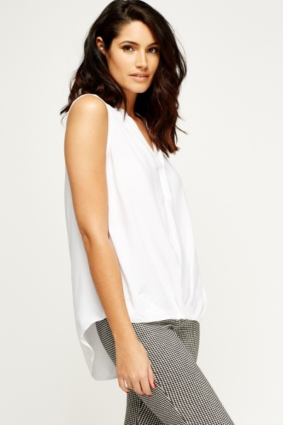 White Dip Hem Sleeveless Top