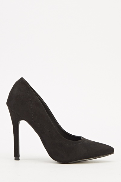 Black Court Suedette Heels