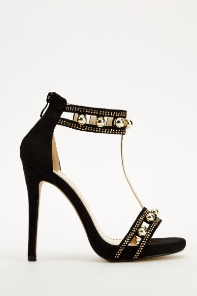 Embellished T-Bar Open Toe Heels