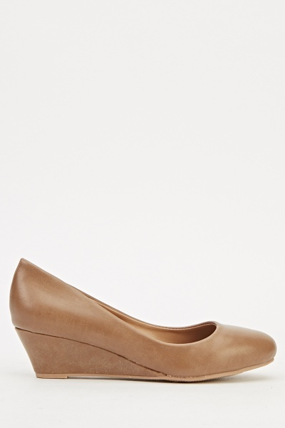 Faux Leather Wedge Shoes