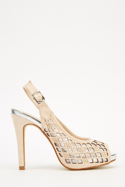 Laser Cut Insert Slingback Heeled Sandals
