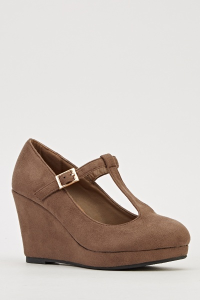 T-Bar Suedette Wedge Shoes
