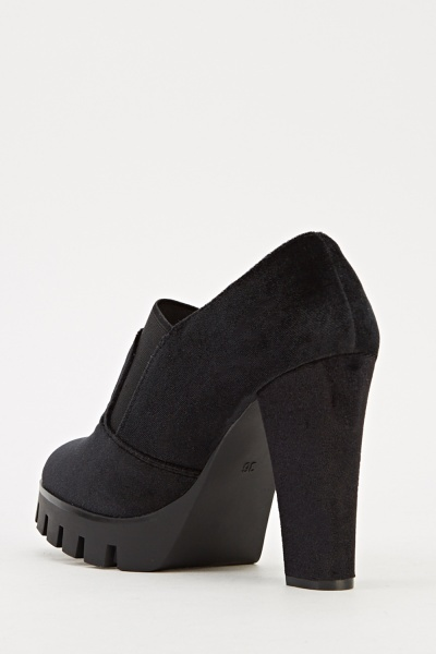 Velveteen Contrast Black High Boots