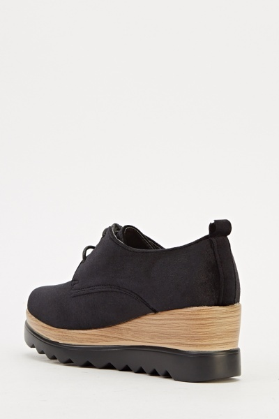 Velveteen Contrast Wedge Shoe