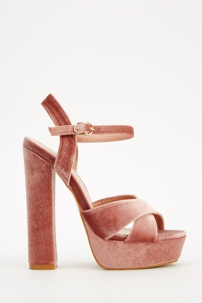 Velveteen Heeled Sandals