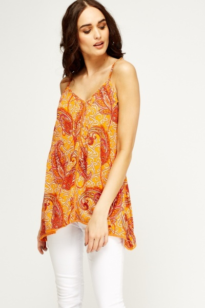 Asymmetric Orange Cami Top