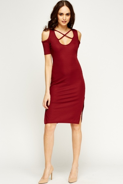 Criss Cross Strap Front Bodycon Dress