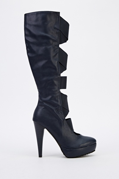 Elastic Cut Out Front Knee High Boots