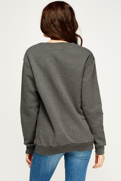 Grey Logo Printed Jumper