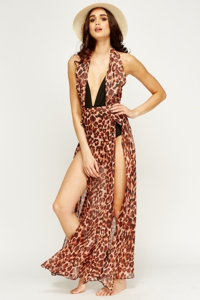Leopard Print Plunge Halter Neck Cover Up