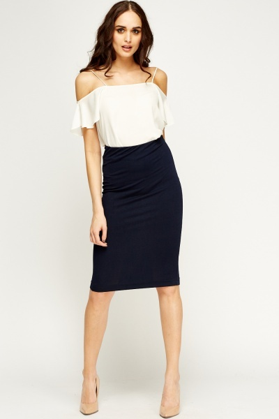 Navy Midi Pencil Skirt