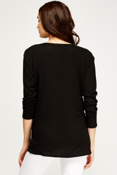 Ribbed Black Cardigan