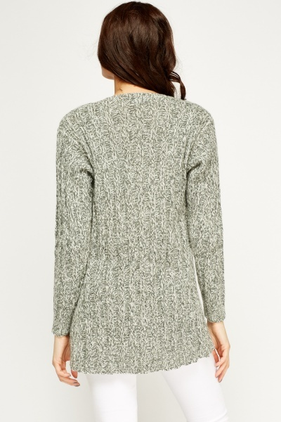 Speckled Knit Open Front Cardigan
