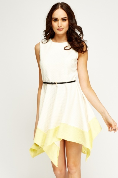 Textured Belted Asymmetric Skater Dress