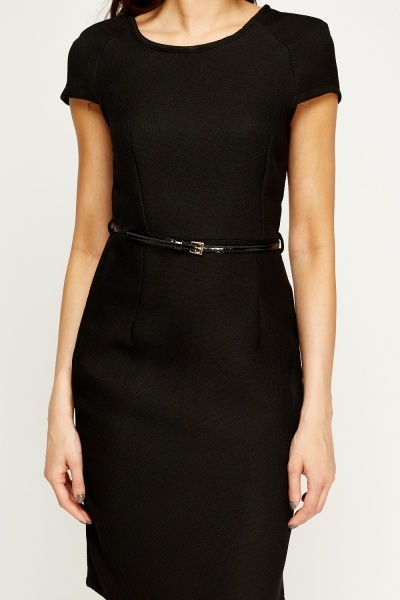 Textured Belted Dress