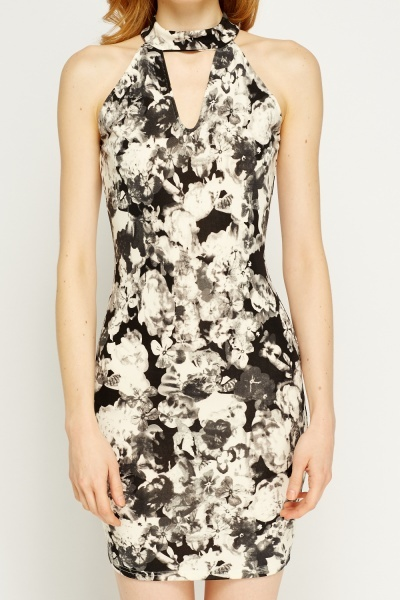 Choker Floral Bodycon Dress