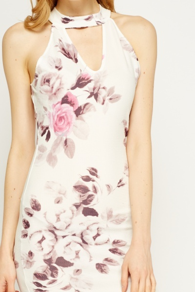 Choker Textured Floral Bodycon Dress