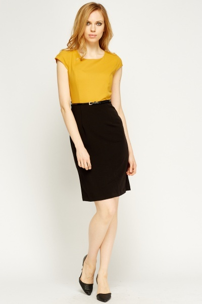 Colour Block Belted Pencil Dress