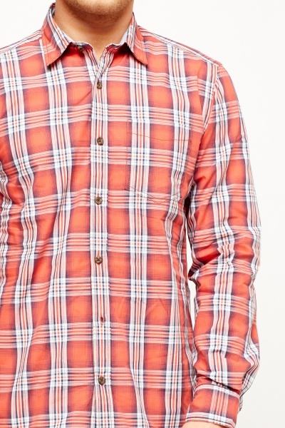 Coral Checked Shirt