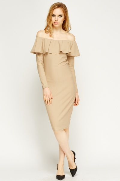Frilled Off Shoulder Midi Dress
