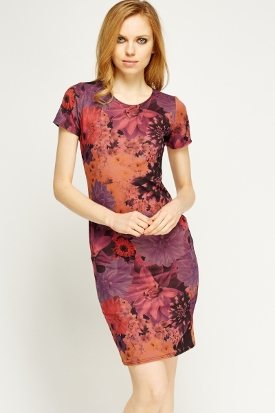 Purple Floral Bodycon Dress