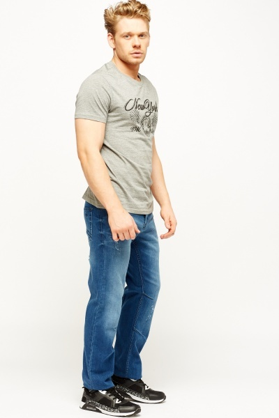Washed Denim Mens Jeans