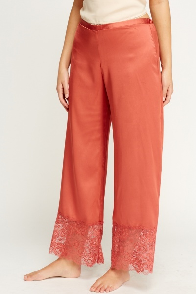 Brick Lace Hem Pyjama Trousers