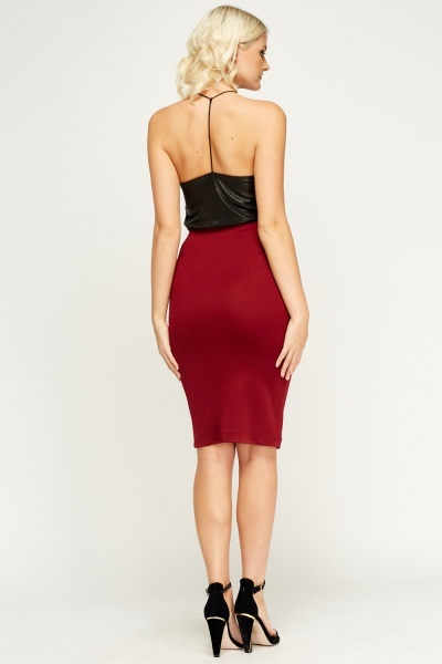 Burgundy Midi Pencil Skirt