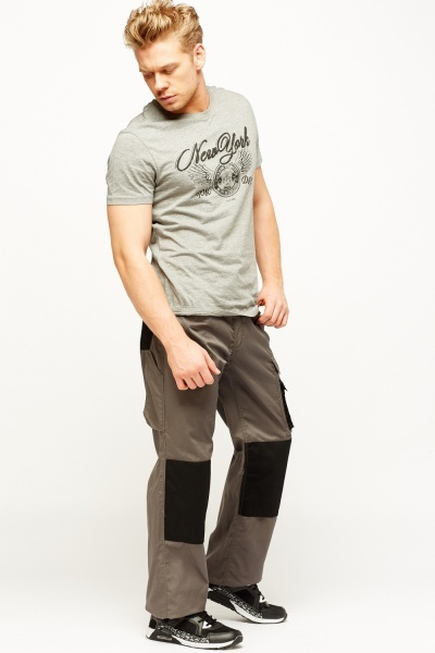 Grey Contrast Combat Work Trousers