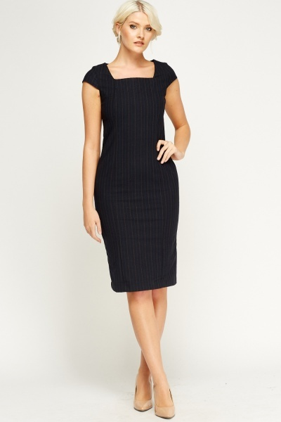 Indigo Pinstripe Formal Dress