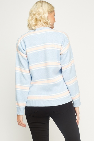Light Blue Multi Stripe Jumper