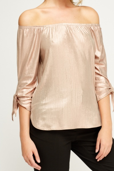 Metallic Pleated Off Shoulder Top