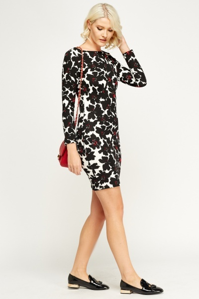 Quilted Floral Bodycon Dress