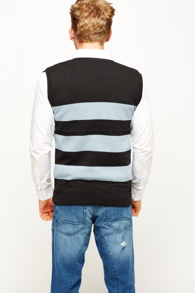 Striped Knitted Sleeveless Sweater