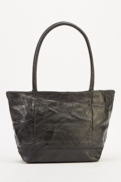 Image of Black Faux Leather Handbag