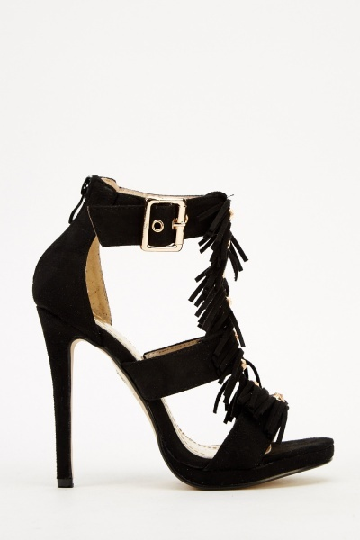 Fringed Spike T-Bar Heels