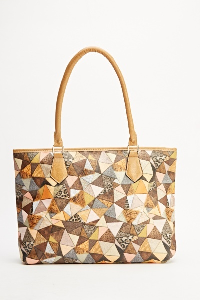 Mixed Print Tote Handbag