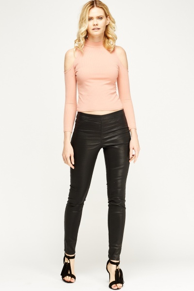 Black Waxed Jeggings