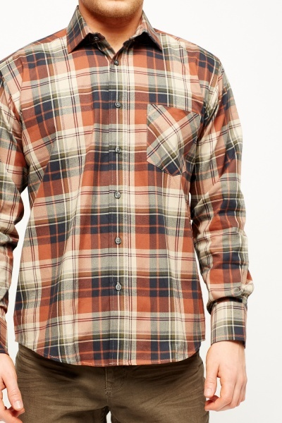 Brown Multi Checked Shirt