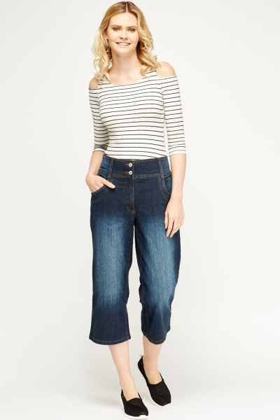 Denim Blue High Waist Cropped Jeans