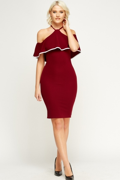 Halter Neck Off Shoulder Dress