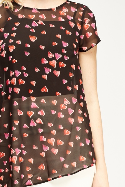 Heart Print Sheer Asymmetric Blouse