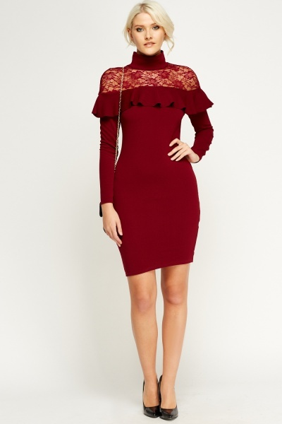 Image of Maroon Lace Insert Frilled High Neck Dress